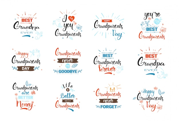 Happy grandparents day greeting card banners set text over white background Premium Vector