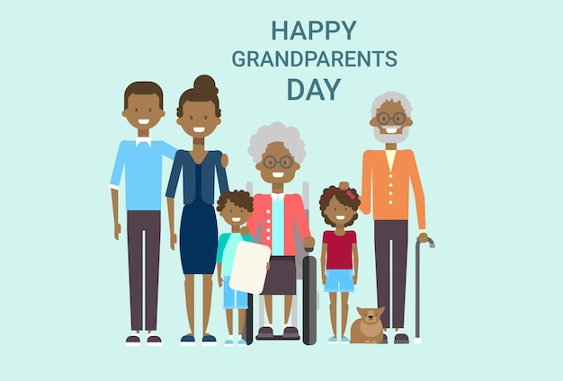 Happy grandparents day greeting card Premium Vector
