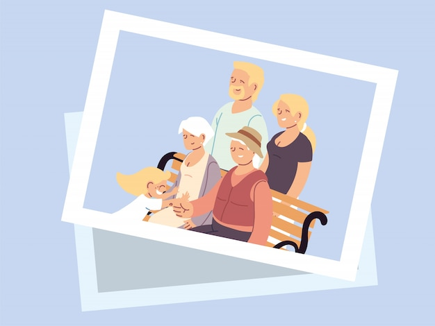 Happy grandparents day poster with photo of happy family Premium Vector