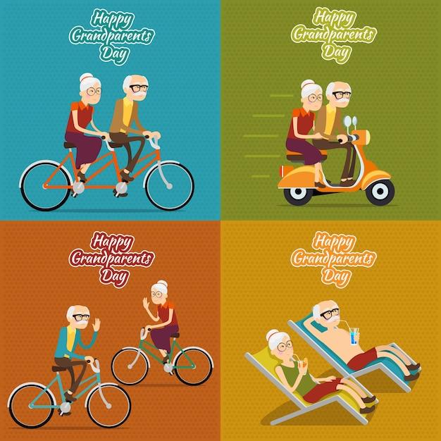 Счастливый день бабушки и дедушки квадратный фон набор Бесплатные векторы