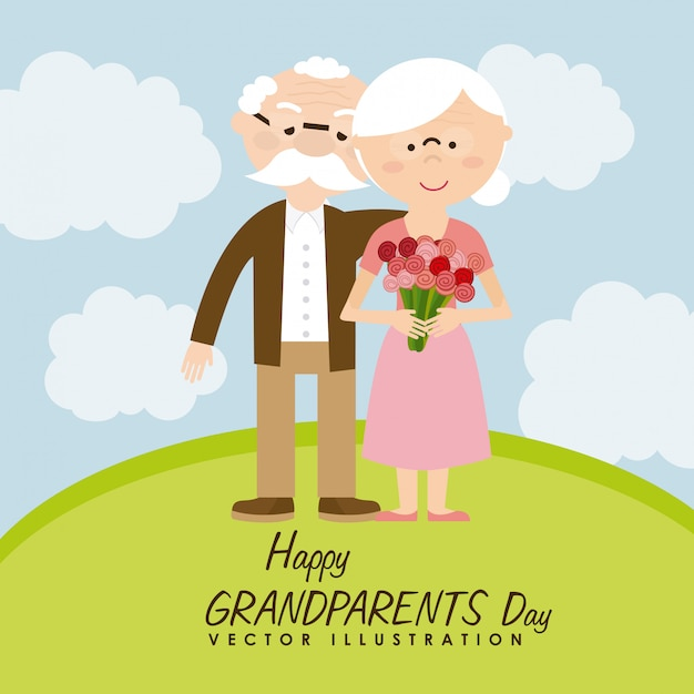 Happy grandparents day Premium Vector