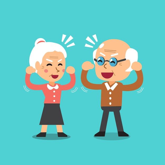 Happy grandparents vector cartoon illustration Premium Vector