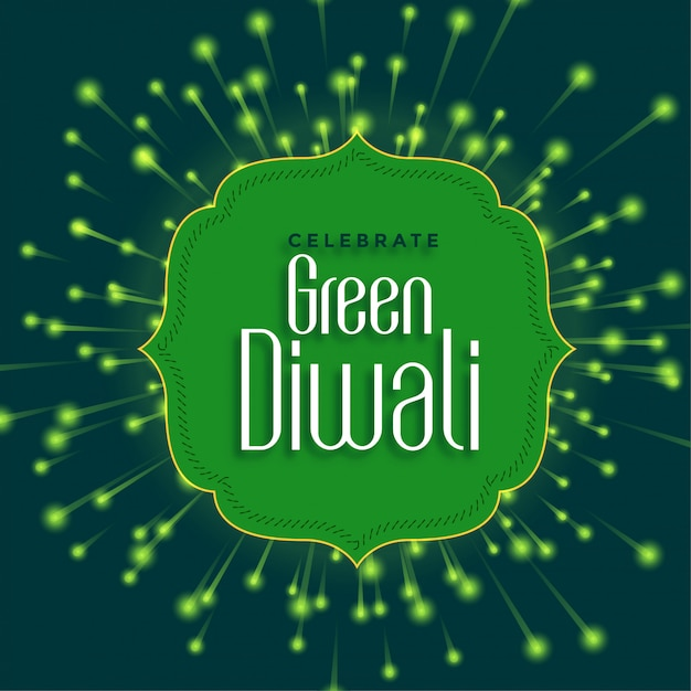 Happy green diwali  with eco friendly firework Free Vector