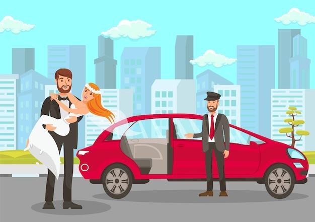 Happy groom holds bride on hands illustration Premium Vector