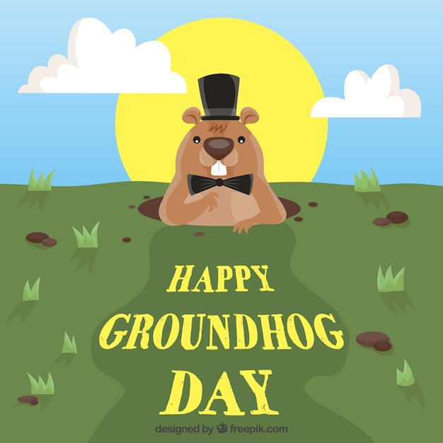 Happy groundhog day background Free Vector