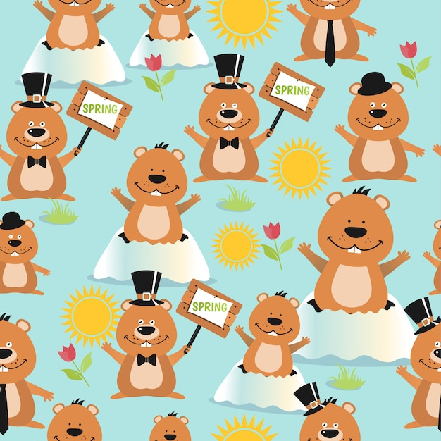 Happy groundhog day design seamless pattern with groundhogs. Premium Vector