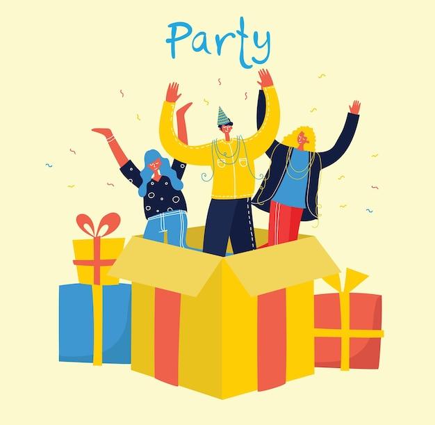 ボックスのイラストからジャンプする人々の幸せなグループ Premiumベクター