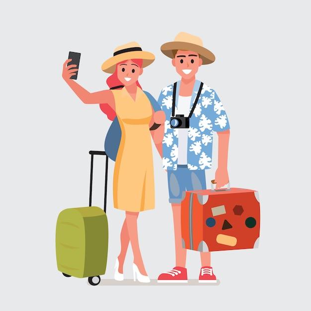 Счастливая группа подростков путешественника Premium векторы