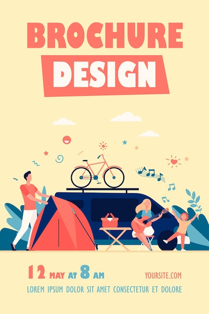 Happy group of tourists camping on nature isolated flyer template Free Vector