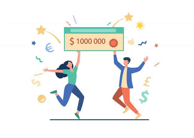 Happy guy and girl winning money prize Free Vector