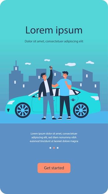 車の購入を祝う幸せな男 Premiumベクター