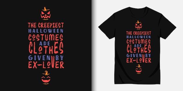 해피 할로윈과 티셔츠 디자인 프리미엄 벡터