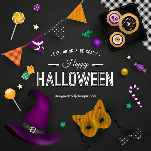 Happy halloween background on black surface Free Vector
