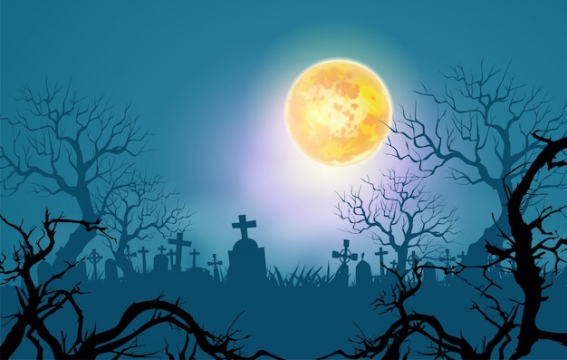 ハッピーハロウィン背景、枯れ木と月明かりの下で不気味な森 Premiumベクター