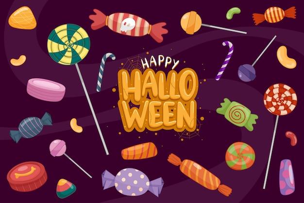 Felice modello di sfondo di halloween nell'oscurità con l'icona di halloween Vettore gratuito