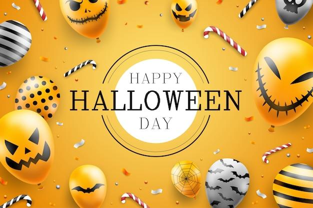 Счастливый хэллоуин фон шаблон в темноте с иконами воздушных шаров лицо дьявола Бесплатные векторы