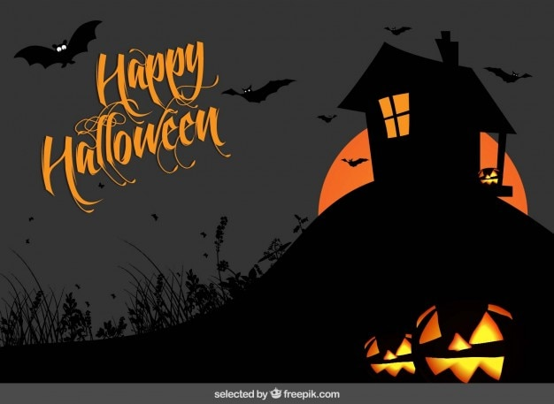Happy halloween background with a house silhouette Vector | Free ...