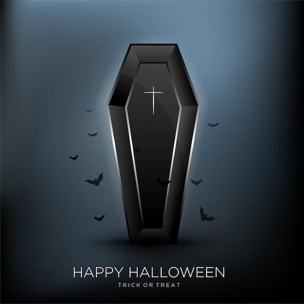Happy halloween background with black coffin Premium Vector