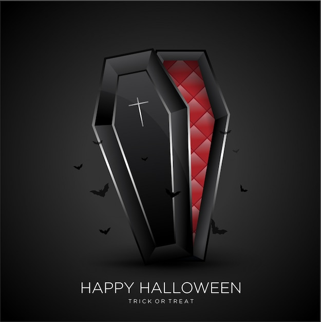 Happy halloween background with black coffin Premium Vector