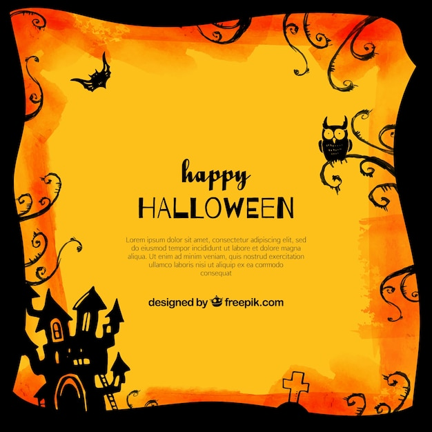 Happy halloween background with castle and\ owl