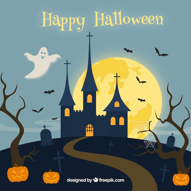 Happy halloween background with castle and\ pumpkins