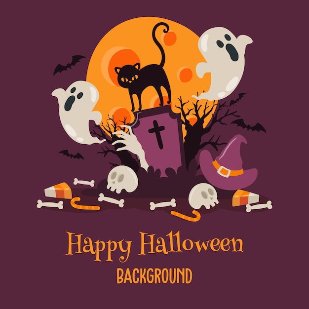 Happy halloween background with cat at cemetery Premium Vector