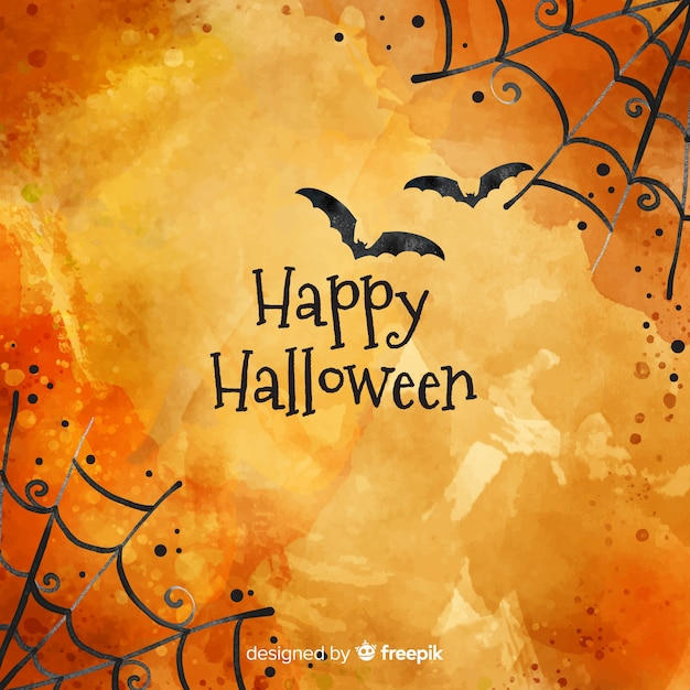 Happy halloween background with cobweb and bats Free Vector