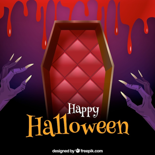 Happy halloween background with coffin and hands Free Vector