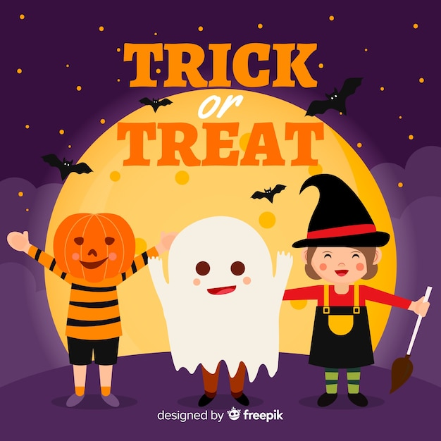 Happy halloween background with cute cartoon characters Free Vector