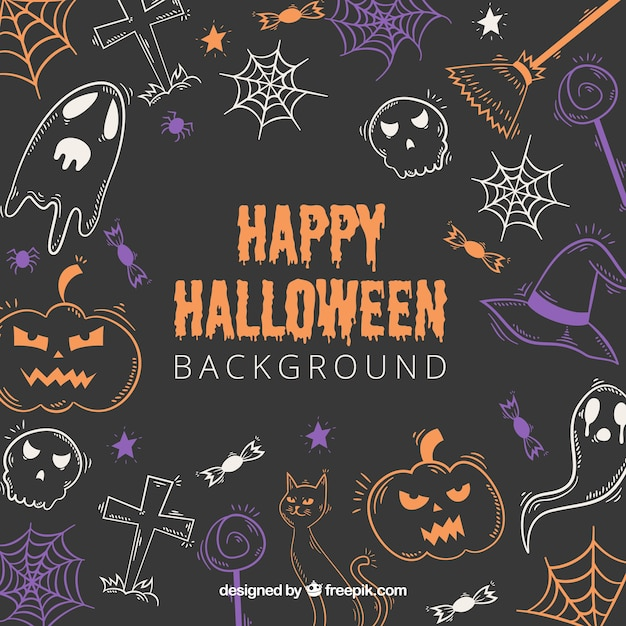 Happy halloween background with drawings