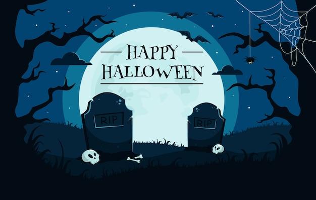 Happy halloween background with graveyard, skulls, full moon, trees, bats. Premium Vector