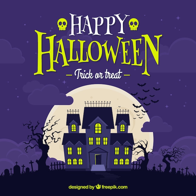 Happy halloween background with haunted\ house