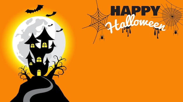 Happy halloween background with haunted house Premium Vector