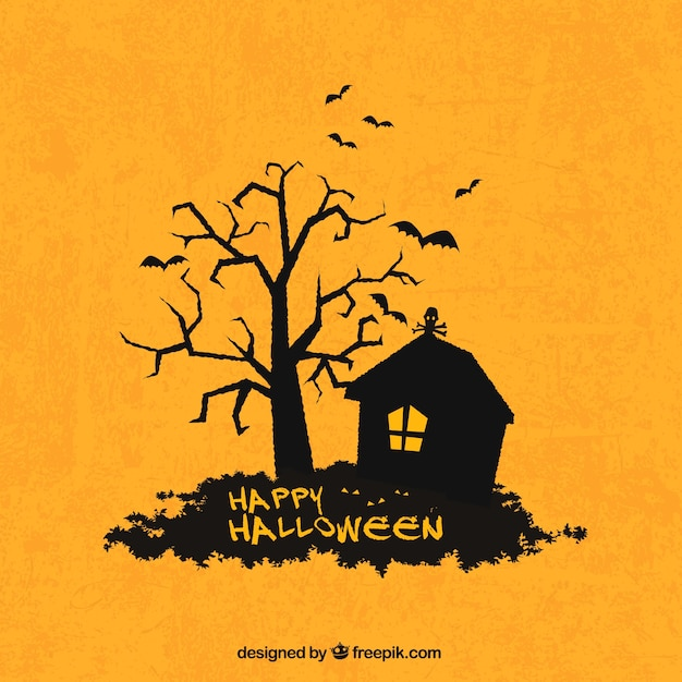 Happy halloween background with house and tree silhouette Vector ...