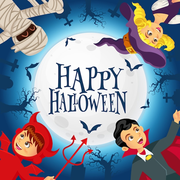Happy halloween background with kids dressed in halloween costume in graveyard and the full moon background Premium Vector