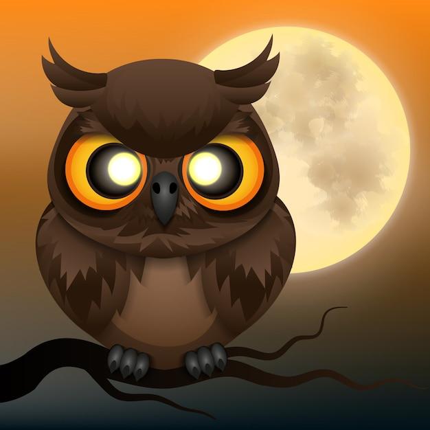 Happy halloween background with owl Premium Vector