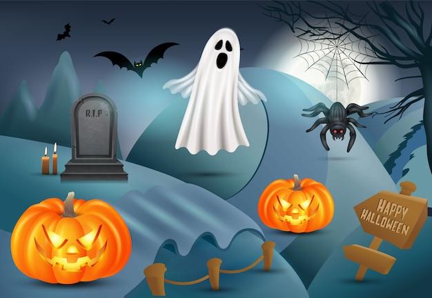 Счастливый хэллоуин фон с тыквой, призрак, надгробие, паук. 3d иллюстрация Premium векторы