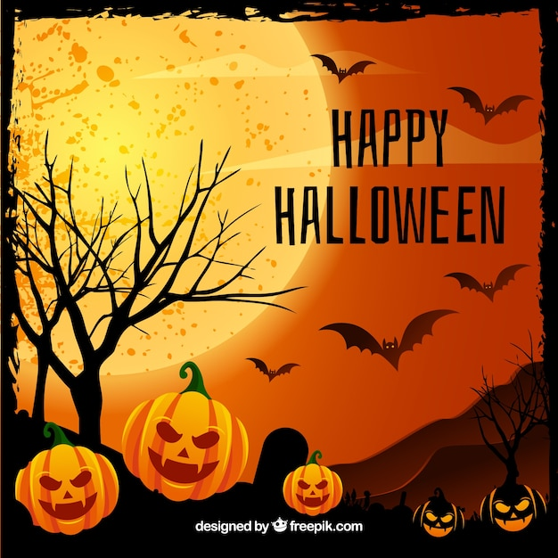 Happy halloween background with pumpkins and bats Vector | Free ...