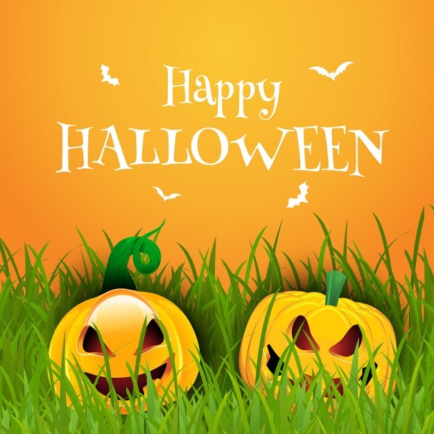 happy halloween background with pumpkins free vector - Halloween Background Images Free
