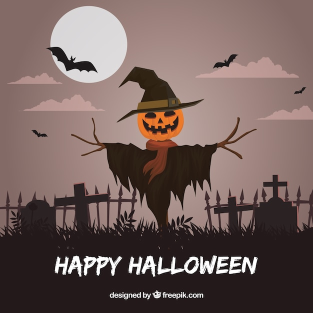 Happy Halloween Background With Scarecrow In The Cemetery Free Vector