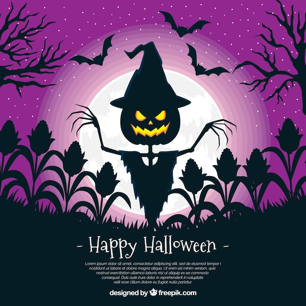 Happy Halloween Background With Scarecrow Free Vector