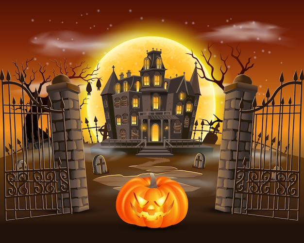 Happy halloween background with scary pumpkin on graveyard with haunted house, and full moon.  illustration for happy halloween card, flyer and poster Premium Vector