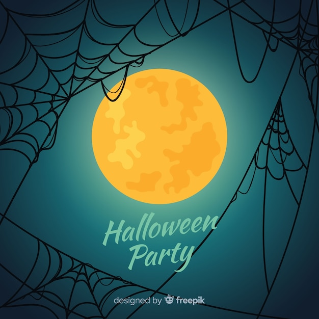 Happy halloween background with spider web and full moon Free Vector