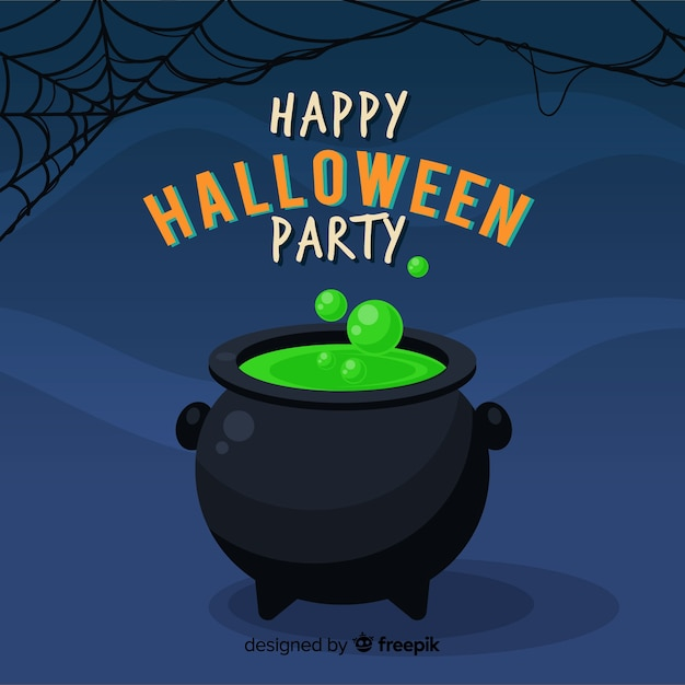 Happy halloween background with witch cauldron Free Vector