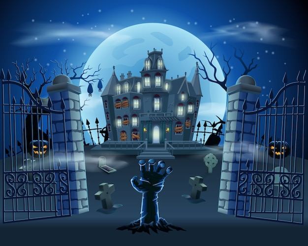 Happy halloween background with zombie hand from the ground on graveyard with haunted house, pumpkins and full moon Premium Vector