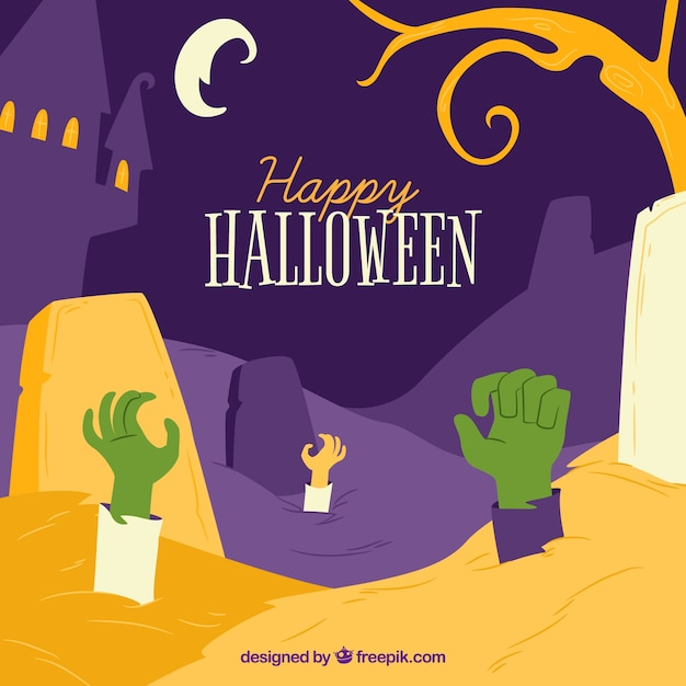 Happy halloween background with zombies hands