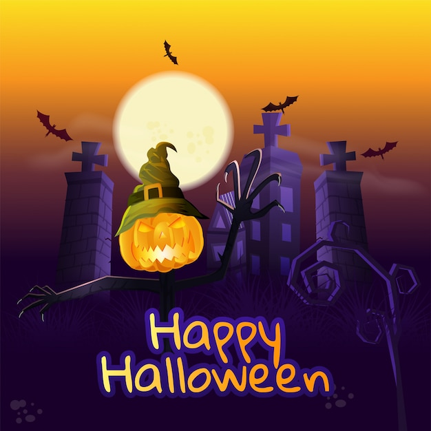 Happy halloween background. Premium Vector