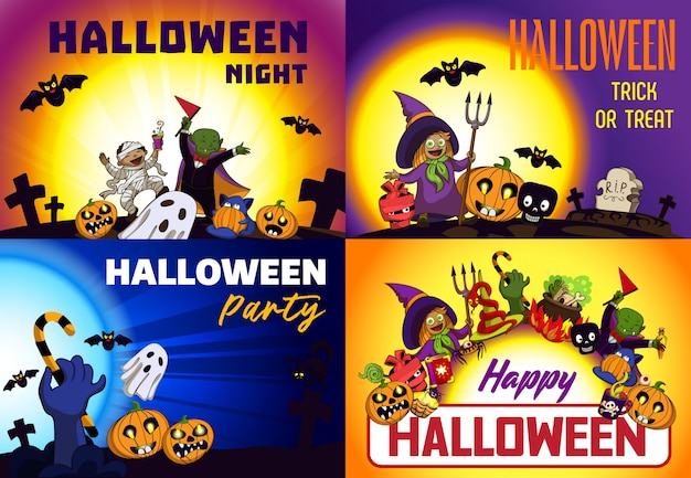 Happy halloween backgrounds Premium Vector