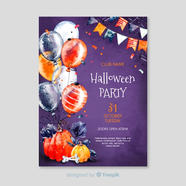 Happy halloween balloons nerdy ghost with glasses party flyer Free Vector