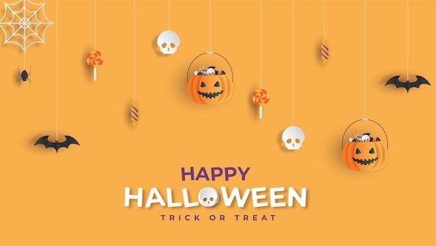 Счастливый хэллоуин баннер фон papercut стиль Premium векторы
